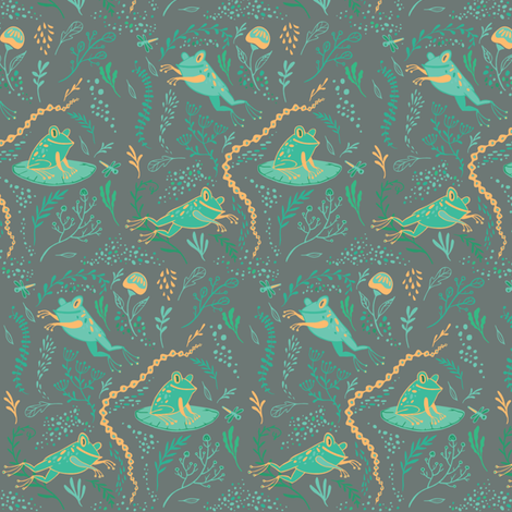 Woodland Fanciful Frogs fabric by sheila-zwettler on Spoonflower - custom fabric