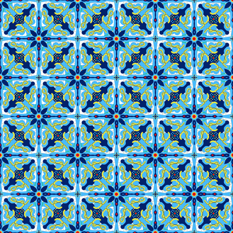 Blue Tile fabric by shannonkornis on Spoonflower - custom fabric