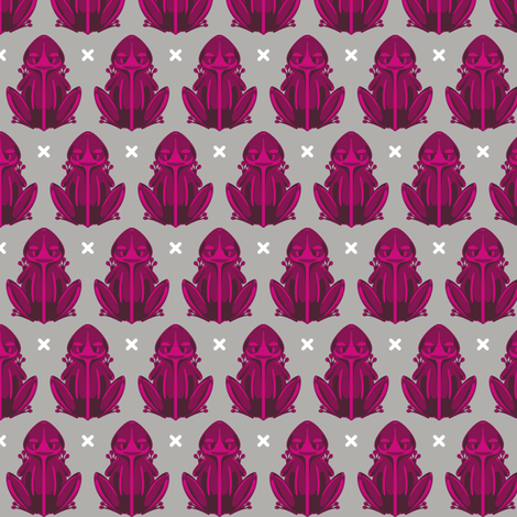 Raspberry Frogs fabric by ka-pow on Spoonflower - custom fabric