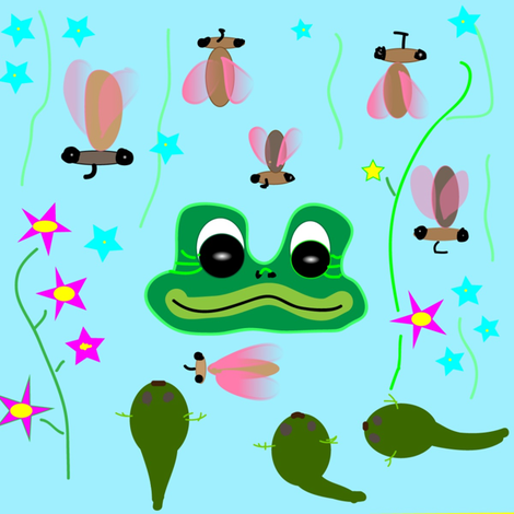 Frog_Tadpoles_Flies2-ed fabric by ruthjohanna on Spoonflower - custom fabric