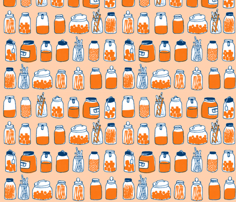 vintage jars fabric by mummysam on Spoonflower - custom fabric