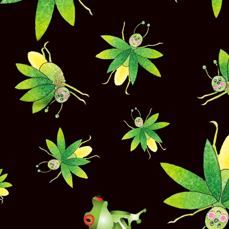 Froggy_Flybye fabric by linda_loper_designs on Spoonflower - custom fabric