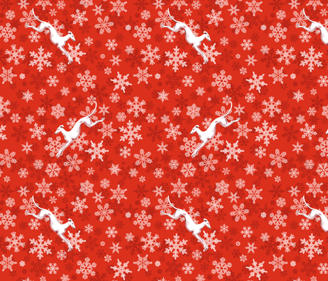 Red Snowflakes / White Greyhounds ©2013 by Jane Walker fabric by artbyjanewalker on Spoonflower - custom fabric