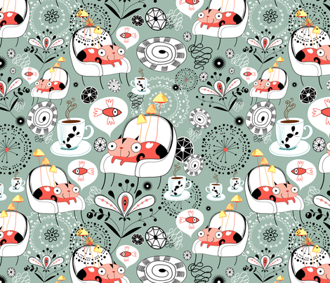 cats and fish fabric by tanor on Spoonflower - custom fabric