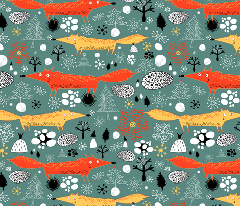 fox in the forest fabric by tanor on Spoonflower - custom fabric
