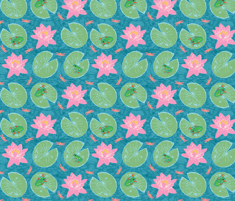 frog + lily  fabric by pattyryboltdesigns on Spoonflower - custom fabric