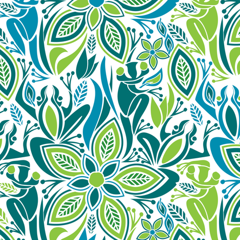 Green frog blue frog fabric by ebygomm on Spoonflower - custom fabric