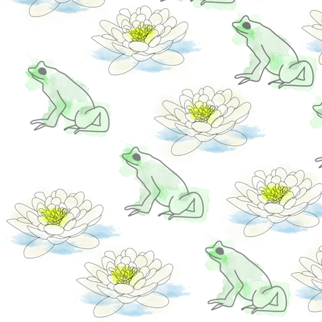 Frog & Lily  fabric by riyah-li_designs on Spoonflower - custom fabric