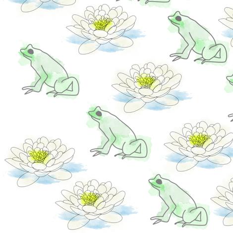 Frog & Lily  fabric by riyah-li_designs on Spoonflower - custom fabric