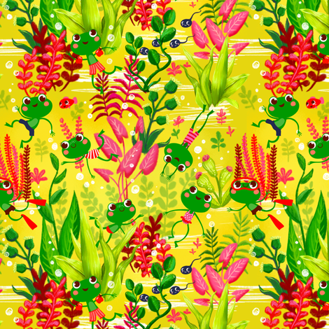 Swimming frogs - yellow ver. fabric by irrimiri on Spoonflower - custom fabric