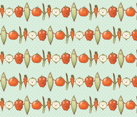 Vege friends at the farmer's market fabric by estrojenn on Spoonflower - custom fabric