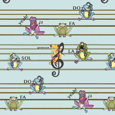 Frogs Y-Tunes fabric by lizartelier on Spoonflower - custom fabric