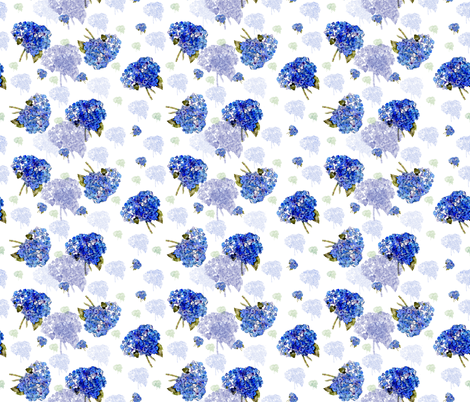Cape Cod Hydrangea Nosegays fabric by karenharveycox on Spoonflower - custom fabric