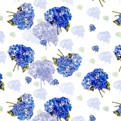 Cape Cod Hydrangea Nosegays fabric by karenharveycox on Spoonflower - custom fabric