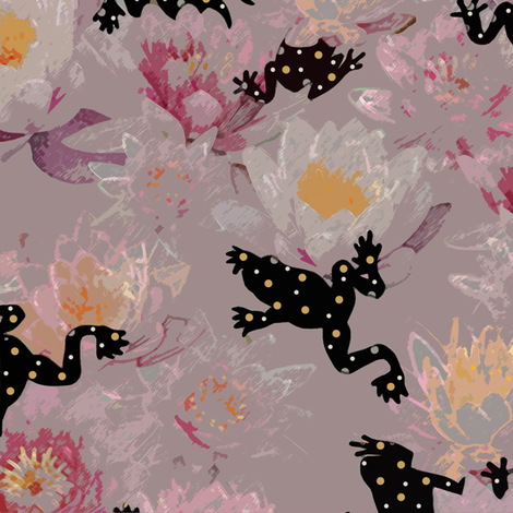 Lady's frogs fabric by fantazya on Spoonflower - custom fabric