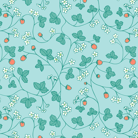 turquoise strawberry fabric by karinka on Spoonflower - custom fabric