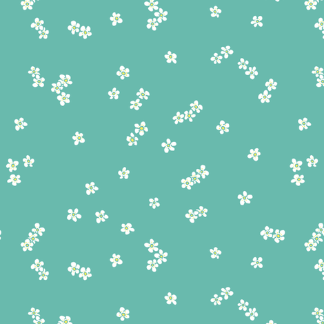 turquoise strawberry blossoms fabric by karinka on Spoonflower - custom fabric