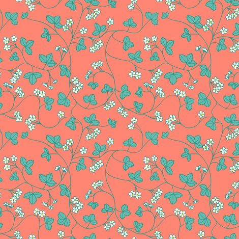 turquoise strawberry flowers fabric by karinka on Spoonflower - custom fabric