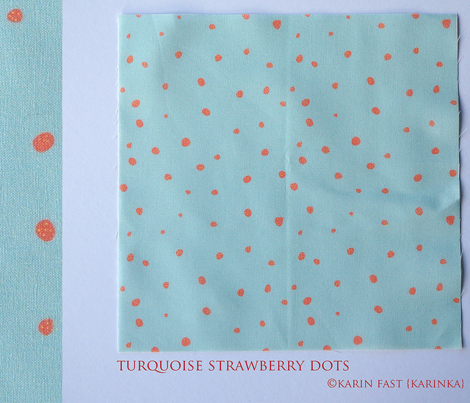 turquoise strawberry dots