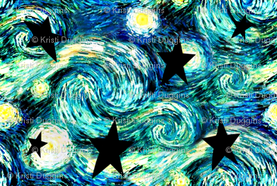 Starry Night with Black Stars