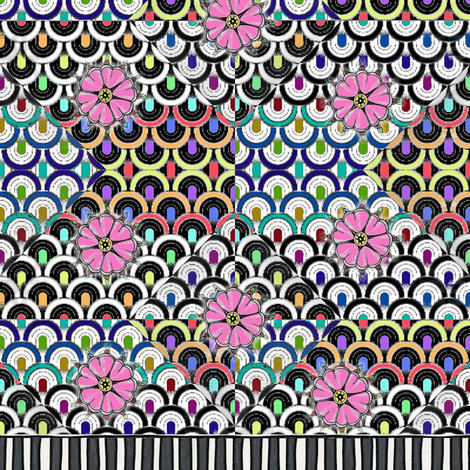 Flowers_and_stripes_inspired_by_50_s_fabric fabric by vinkeli on Spoonflower - custom fabric