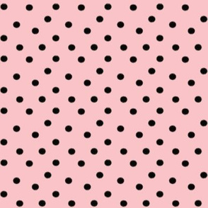 Light Baby Pink with Black Dots