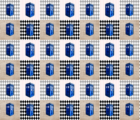 Police Box Cheater Quilt Blocks