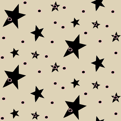 Cream Cappuccino with Black Stars & Dots fabric by bohobear on Spoonflower - custom fabric