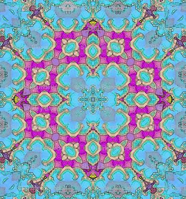 Blue Floral Kaleidoscope.