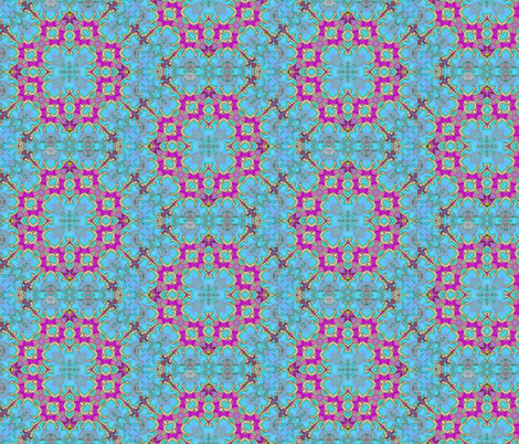 Blue Floral Kaleidoscope. fabric by koalalady on Spoonflower - custom fabric