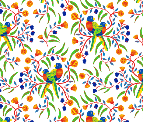 Rainbow Lorikeets/White fabric by yellowstudio on Spoonflower - custom fabric