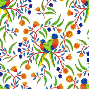 Rainbow Lorikeets/White