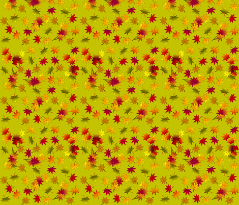 Small Autumn Leaves in Green Tea ©indigodaze2013 fabric by indigodaze on Spoonflower - custom fabric