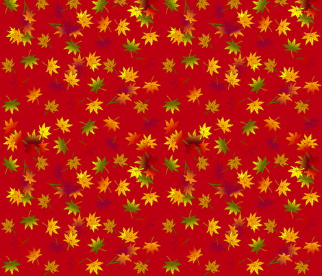 Small Autumn Leaves in Rust Red © seasparkles 2013 fabric by seasparkles on Spoonflower - custom fabric