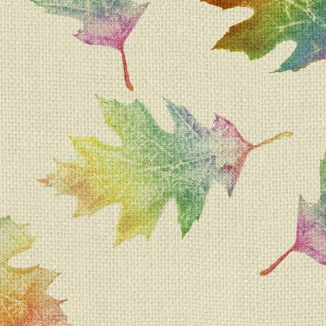 rainbow oak leaves (large leaves) fabric by weavingmajor on Spoonflower - custom fabric