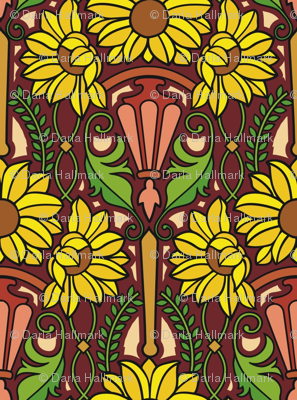 Art Nouveau sunflowers, medium