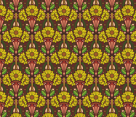 Art Nouveau sunflowers, medium fabric by hannafate on Spoonflower - custom fabric