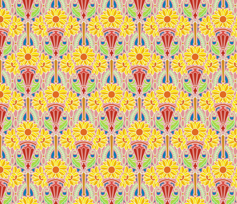 Art Nouveau sunflowers, bright fabric by hannafate on Spoonflower - custom fabric