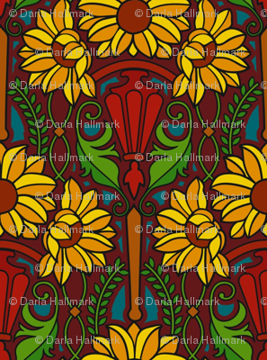Art Nouveau sunflowers, dark