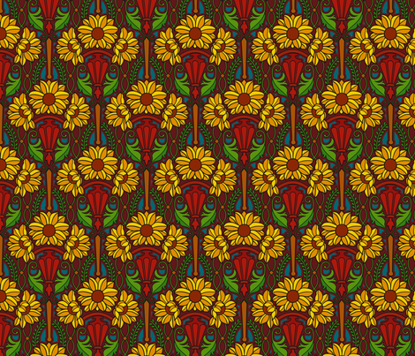 Art Nouveau sunflowers, dark fabric by hannafate on Spoonflower - custom fabric