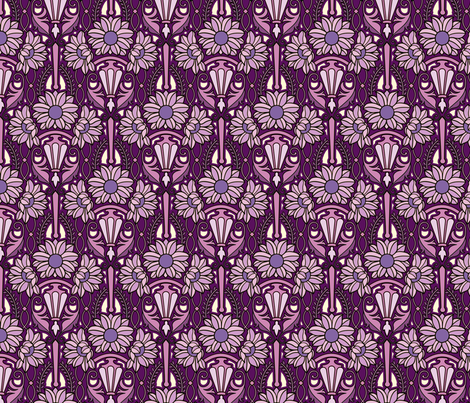 Art Nouveau sunflowers, purples fabric by hannafate on Spoonflower - custom fabric