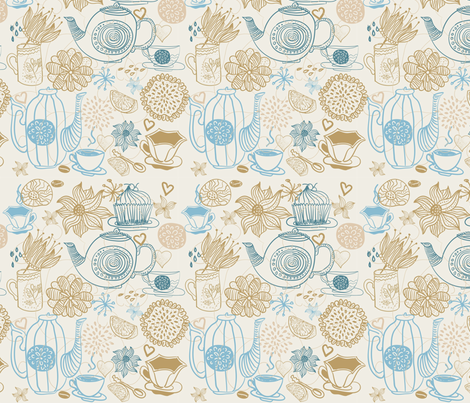 tea with lemon fabric by anastasiia-ku on Spoonflower - custom fabric