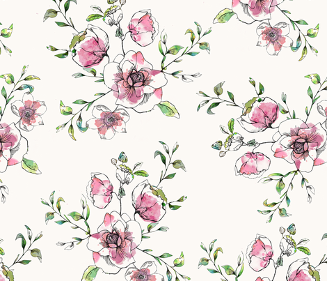 Orchard Blossom Pink fabric by hackneyandco on Spoonflower - custom fabric
