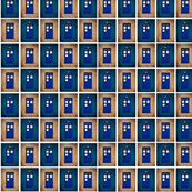 Police Box Blocks, Dark Teal Blue & Cappuccino Sepia Grid