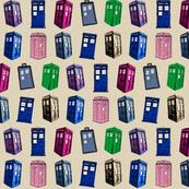 Colorful Police Box Progression on Cappuccino Dots