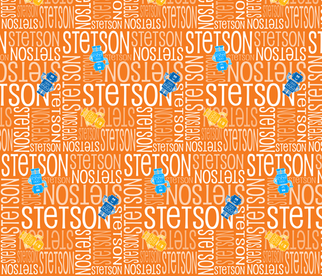 Personalised Name Fabric - Robots in Orange fabric by shelleymade on Spoonflower - custom fabric
