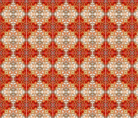 Tile Swirl Orange - Inspired by Portuguese Tiles fabric by martaharvey on Spoonflower - custom fabric