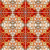 Tile Swirl Orange - Inspired by Portuguese Tiles
