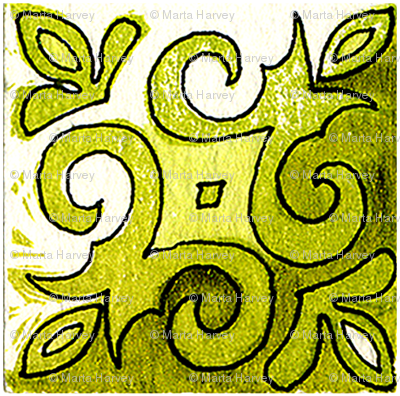 Tile Swirl Green - Inspired by Portuguese Tiles
