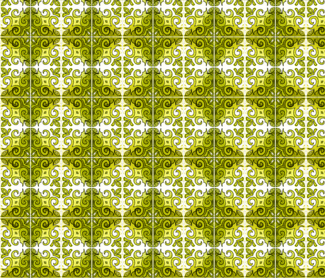 Tile Swirl Green - Inspired by Portuguese Tiles fabric by martaharvey on Spoonflower - custom fabric